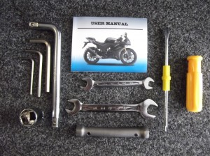 a Picture of the tool kit supplied with the WK 125RR motorcycle